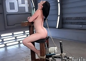Inked coddle restrained for pussy toying