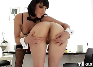 Frisky lesbian babes rejoinder up their monster butts with cream and squirt it out