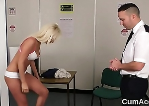 Sexy honey gets jizz gravamen on her face swallowing all the love juice