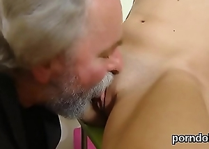 Kissable college girl gets tempted with the addition of fucked by their way elderly lecturer