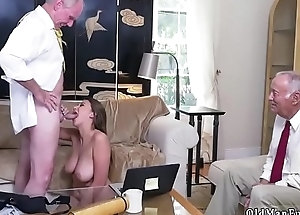 Old man two girls and granny Ivy impresses in all directions her huge breasts and
