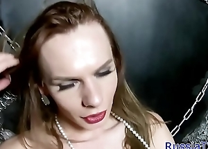 Russian trans dreamboat tugging her cock