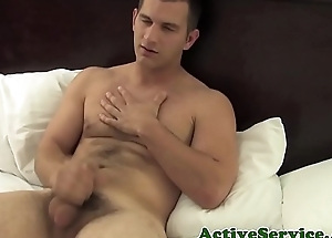 Military hunk jerking seize passion