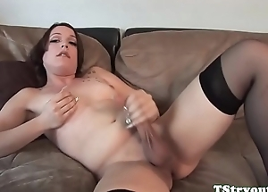 Auditioning tranny sucks dick added to wanks off