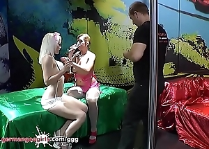 Dispirited blonde Licks her her Girlfriend'_s Pussy clothes-brush While getting fucked